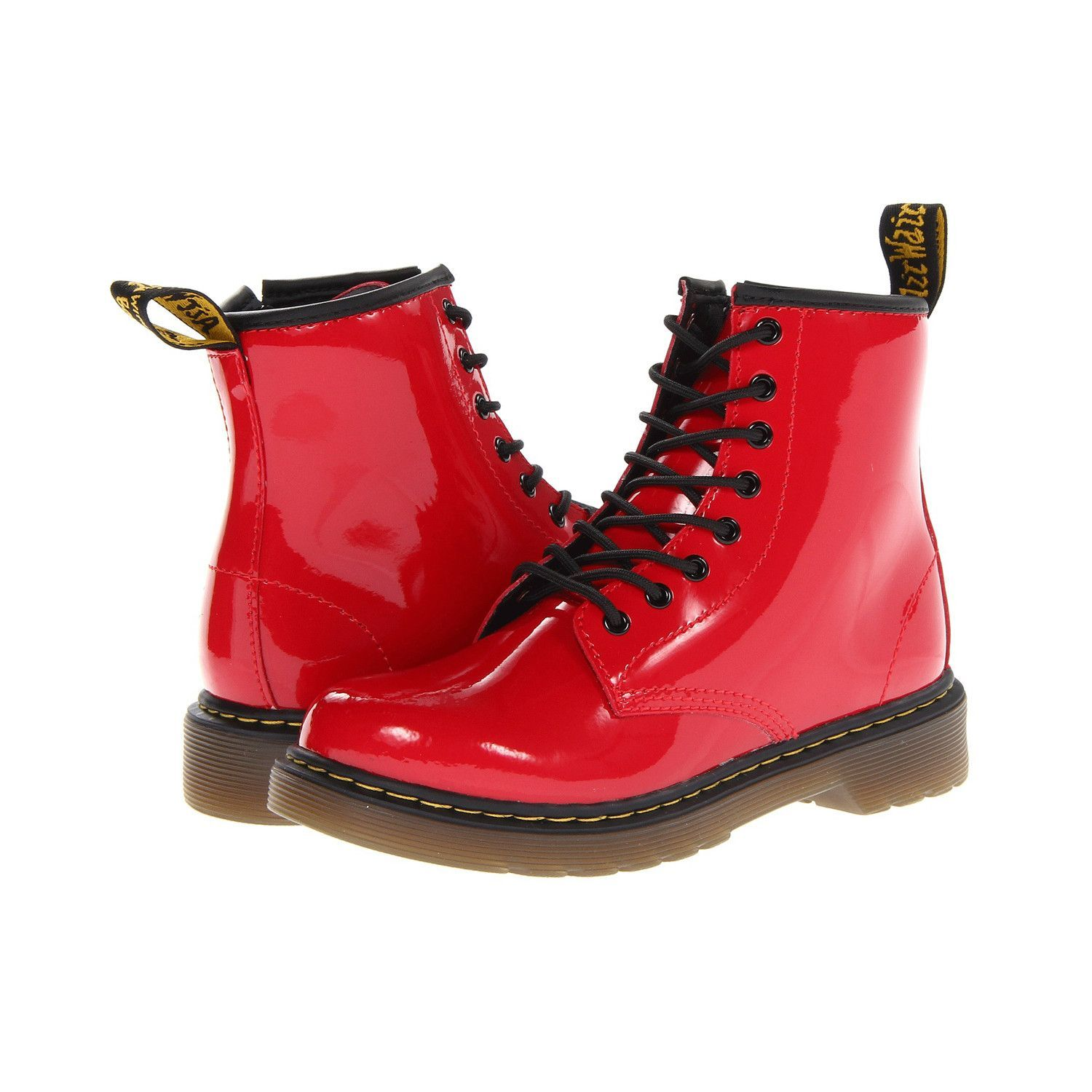 Dr Martens Delaney Patent Boots, Red at