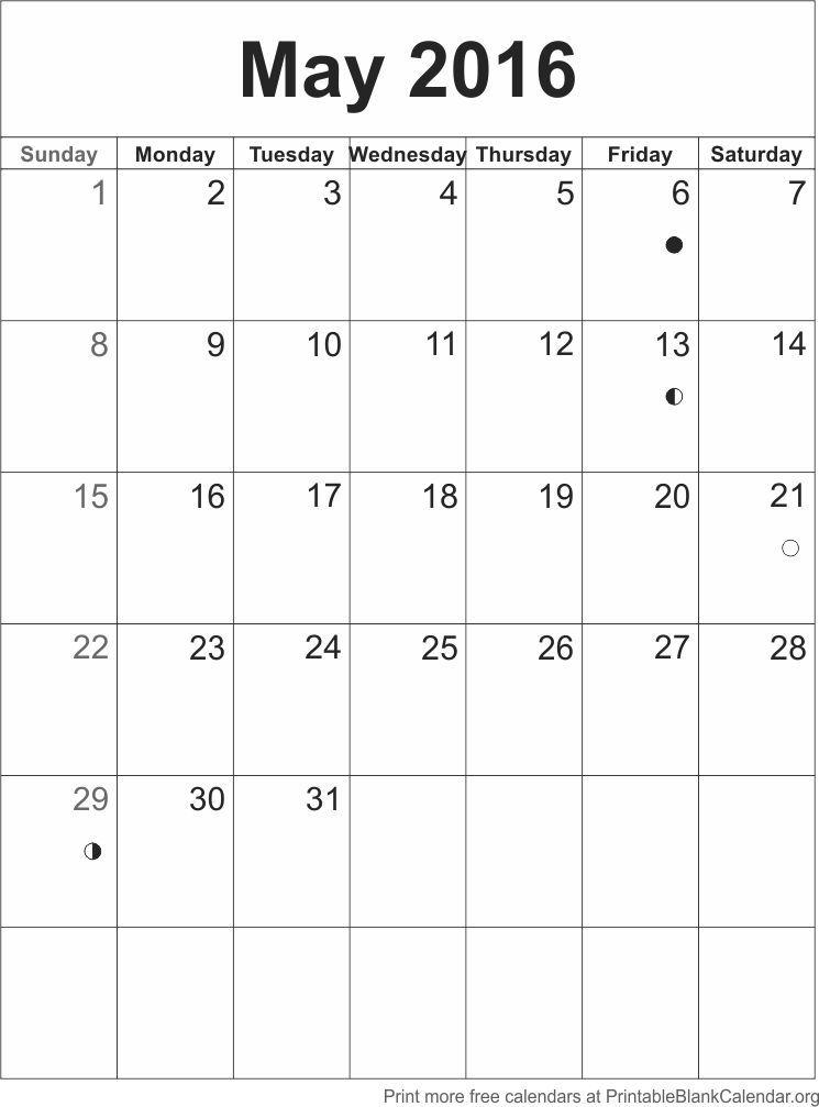 May  Printable Calendar Template HttpPrintableblankcalendar