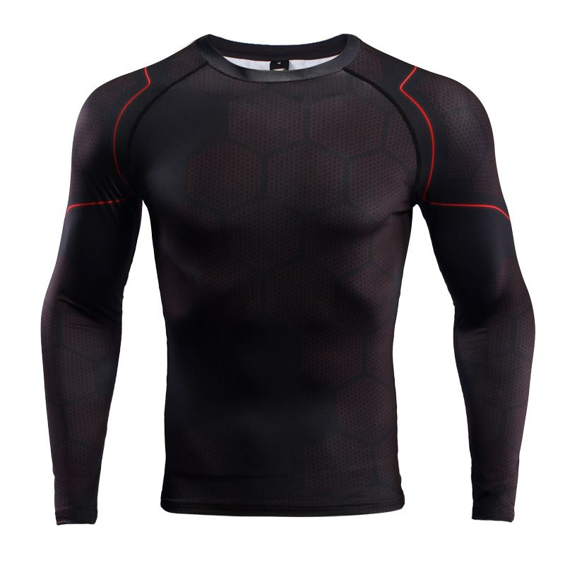 Black Word Compression Tight Shirt Top Base Layer Long Sleeve For Sports Outdoor