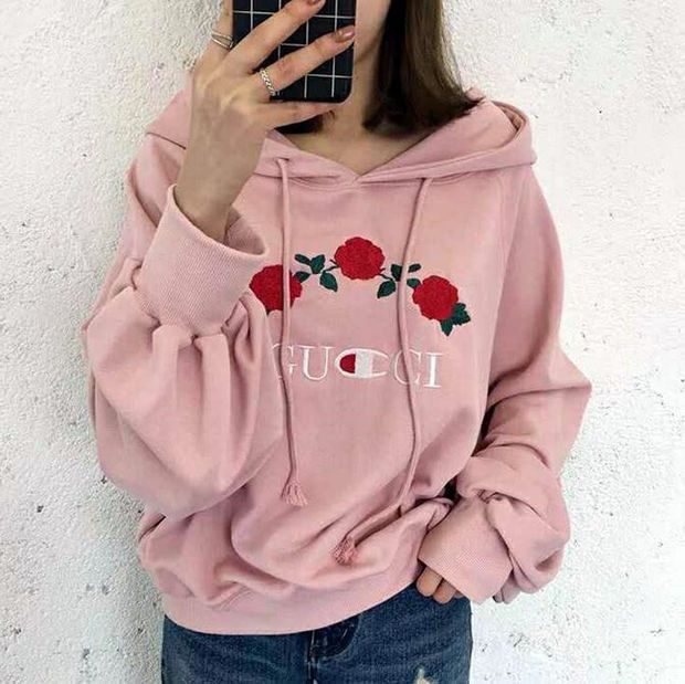 1d0efe87af33 GUCCI   Champion flower rose print sweater grey hoodie pullover Grey ...
