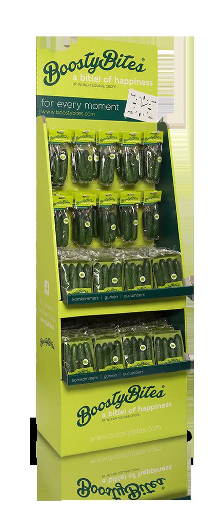 BoostyBites display design by BureauBlitz | #boostybites #cucumber #packaging #display #design
