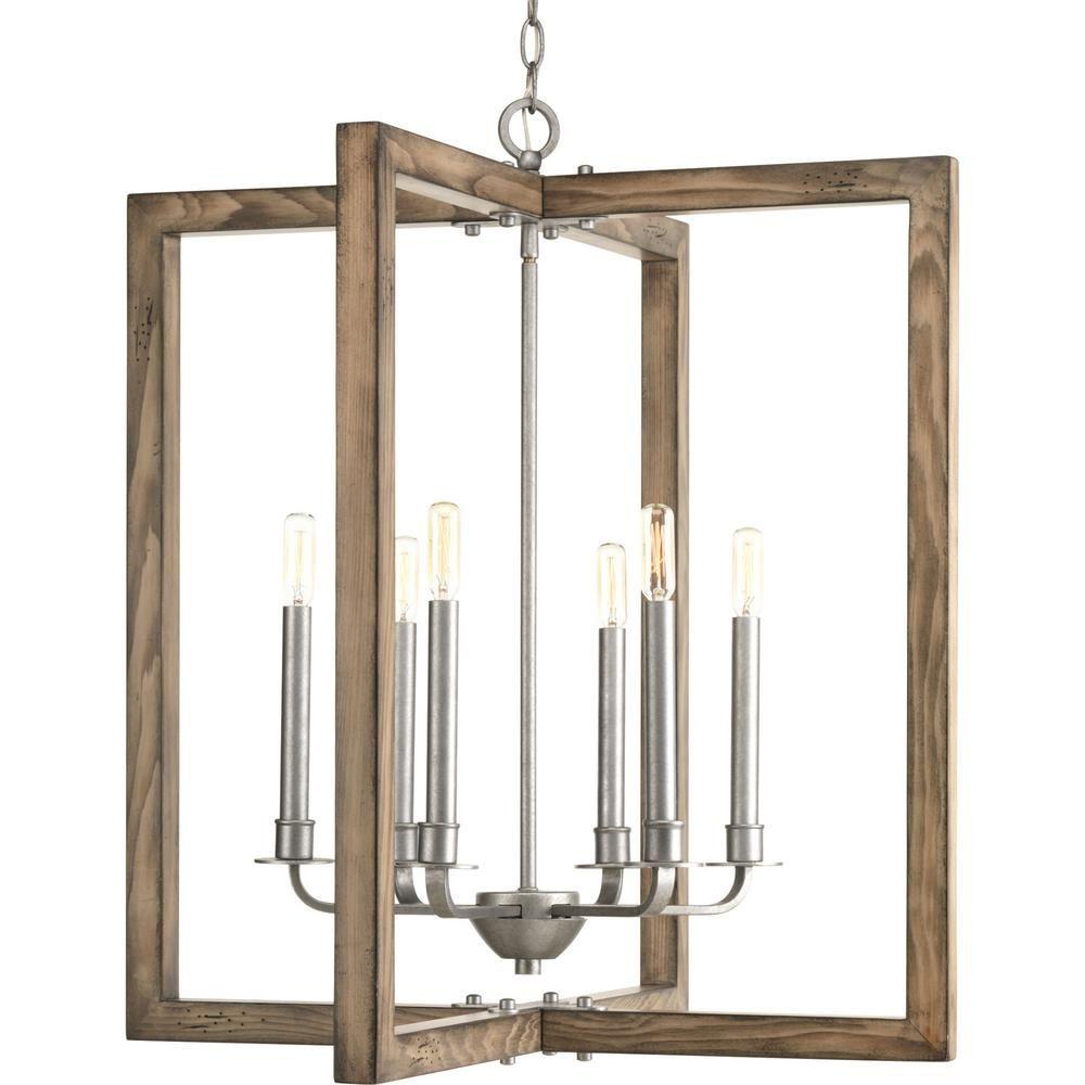 Progress lighting turnbury light gray galvanized chandelier
