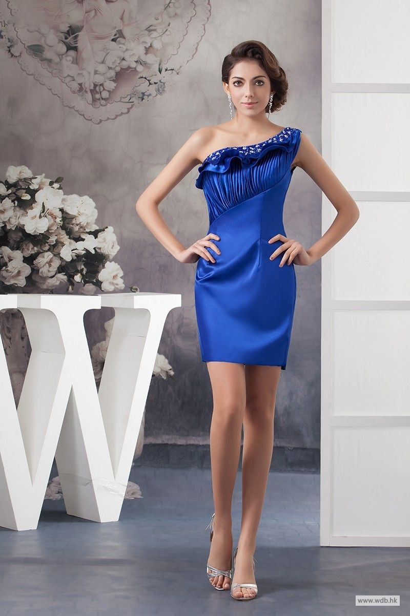 Wedding food one shoulder pleated short satin dress with beading
