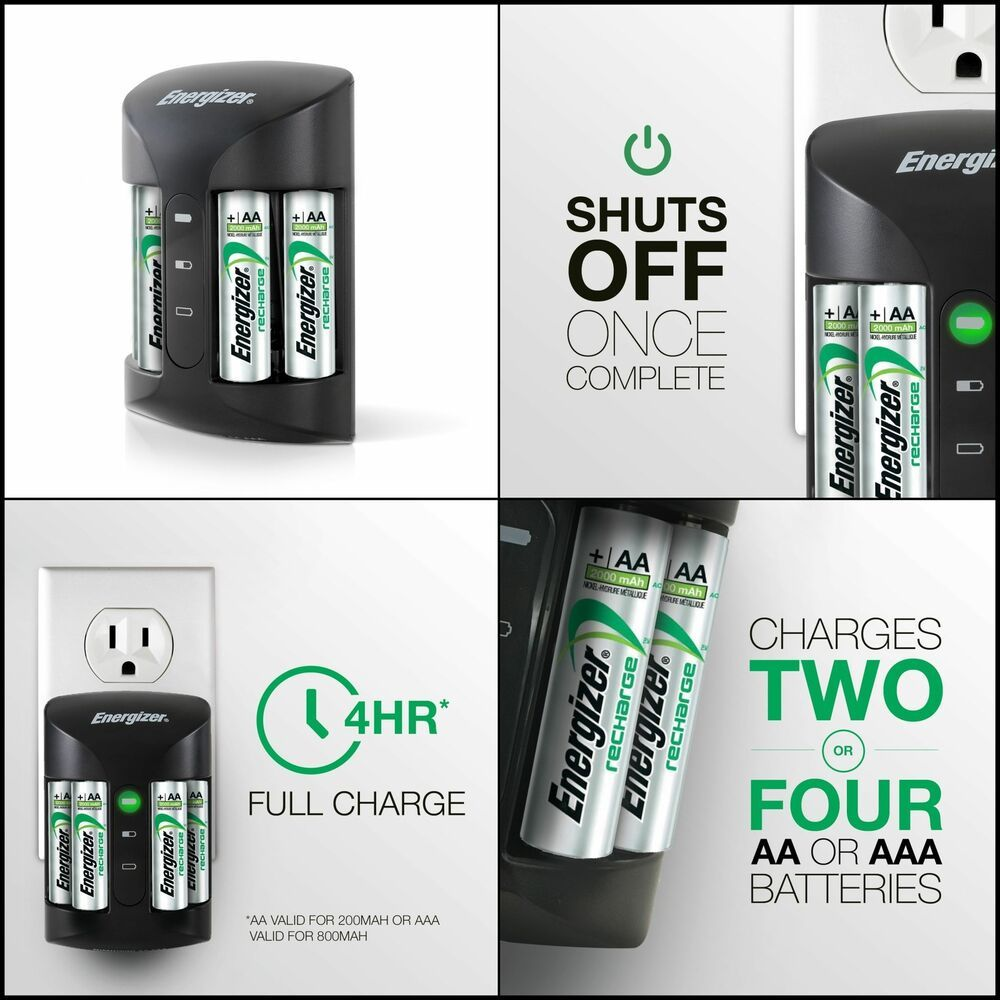 Energizer Rechargeable AA and AAA Battery Charger Recharge Pro w// 4 AA NiMH