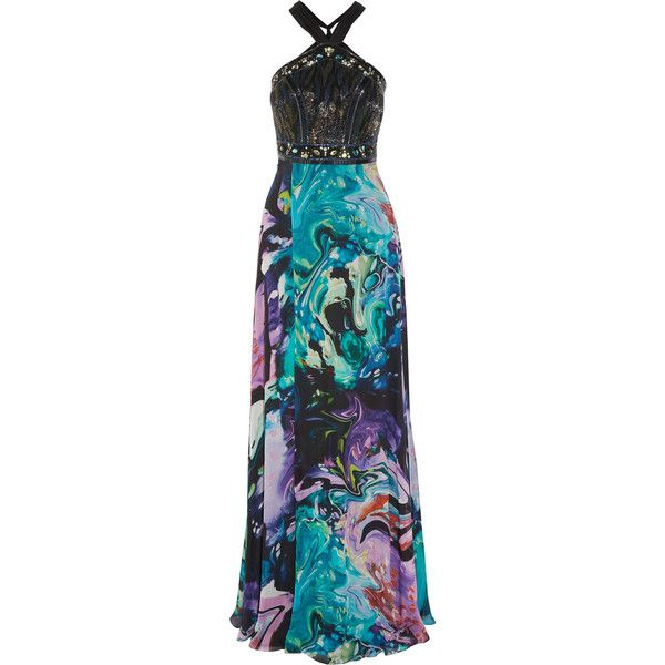 Matthew Williamson Embellished printed silk-chiffon gown (€1.245) ❤ liked  on Polyvore