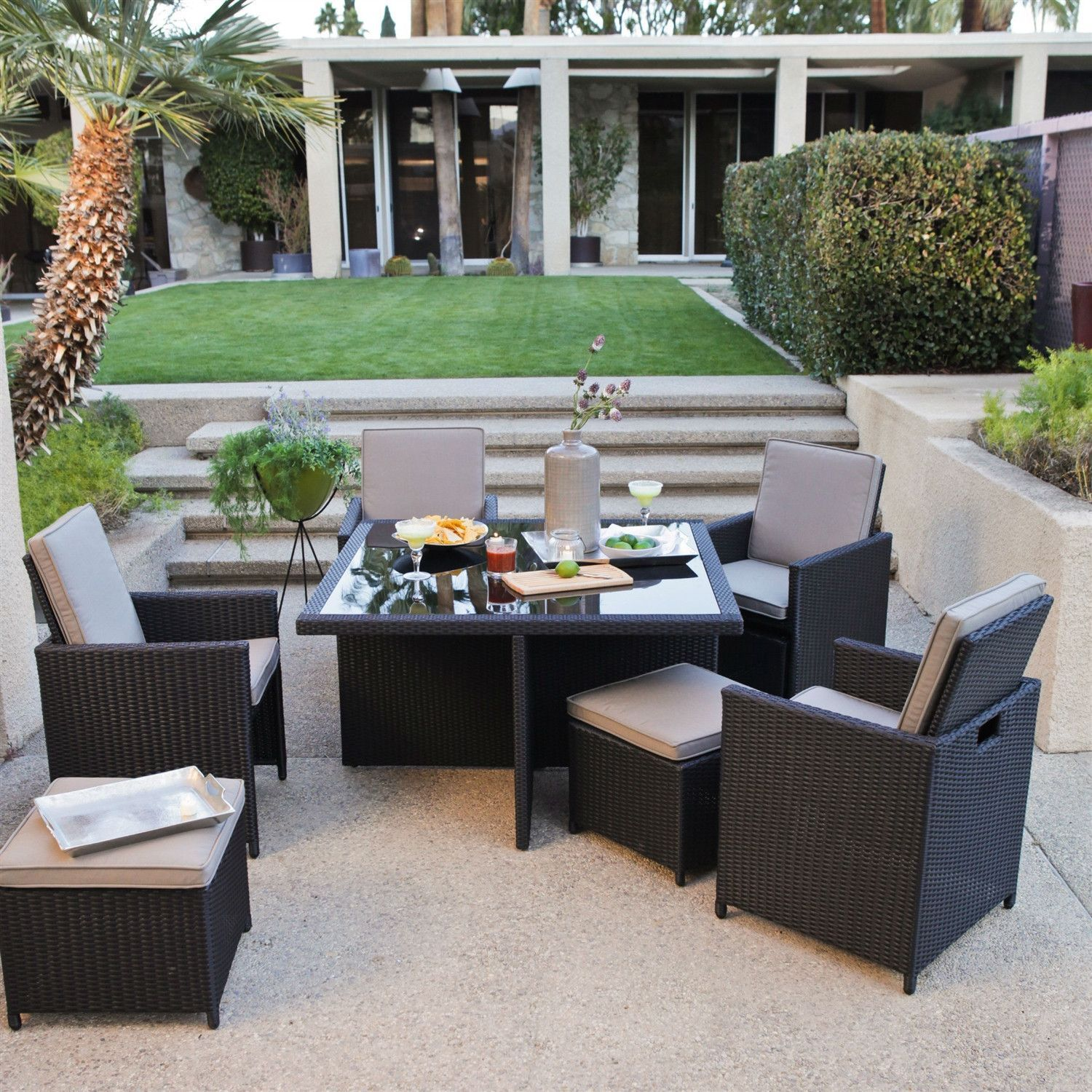 Modern 4 Seat Nesting Outdoor Dining Patio Furniture Set In Brown Wicker  Resin