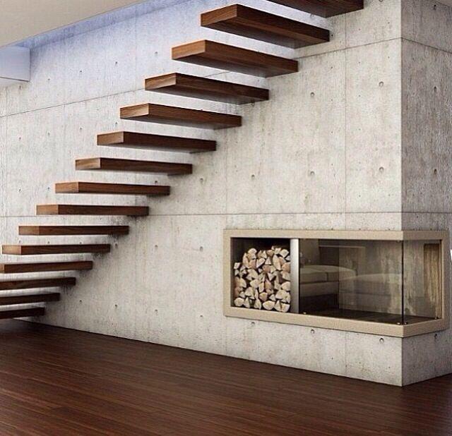 escalera concreto aparente - Escaleras Voladas