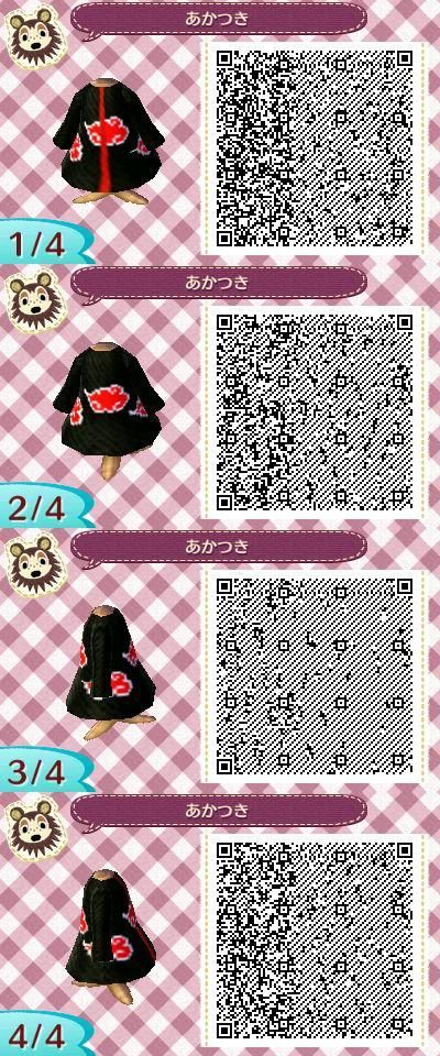 animal crossing qr codes | Animal Crossing New Leaf- Akatsuki outfit - David Beard