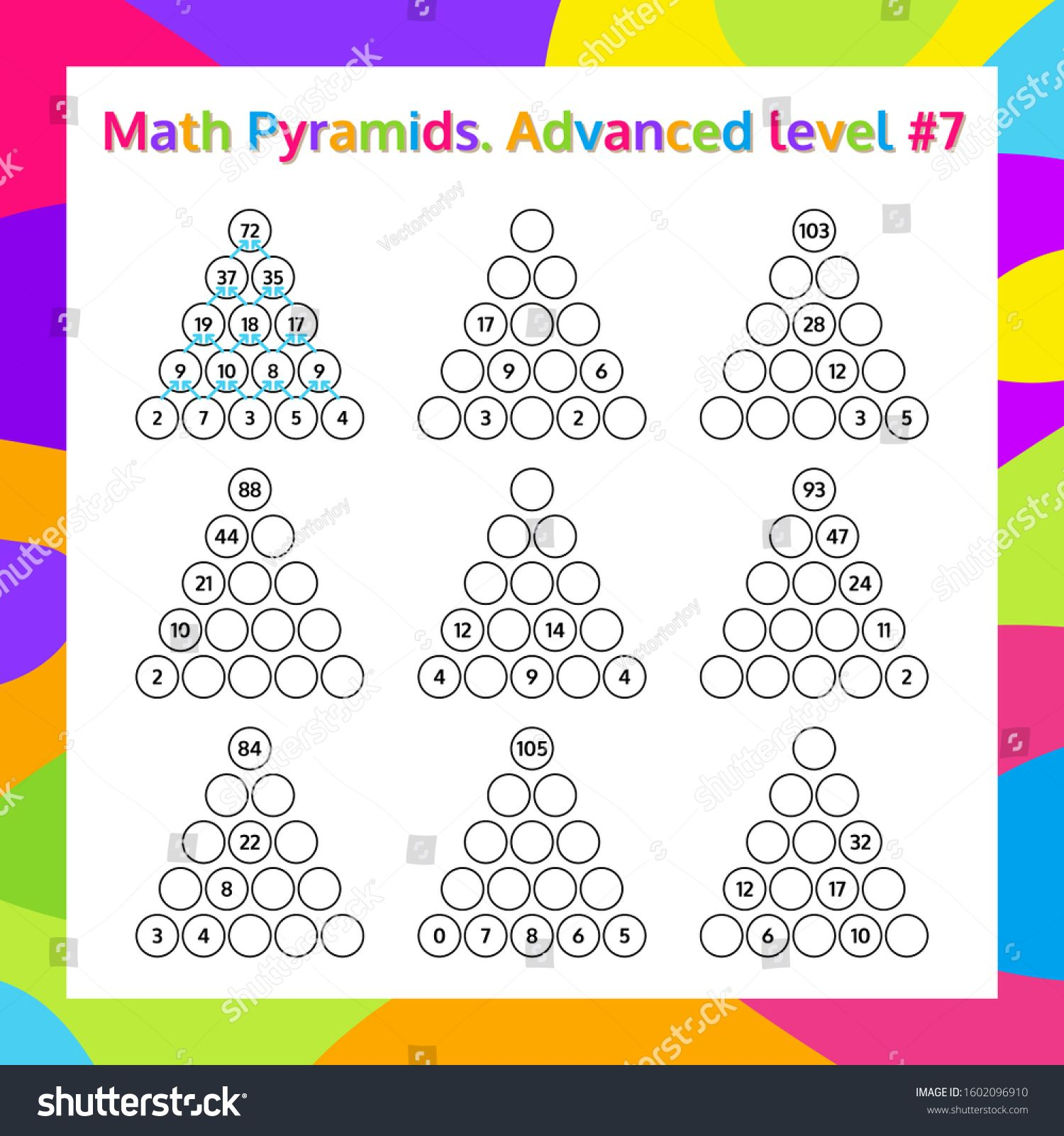 Math Pyramid Educational Game Worksheet Mathematics
