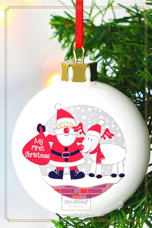 Eternali BeschriftungMy First Christmas  Weihnachts Babybekleidung Neugeborene Kind Weihnachten Bekleidung Baby Strampler Babym/ützen M/ädchen Jungen Outfits 3 St/ück Spielanzug Hose Hut Set