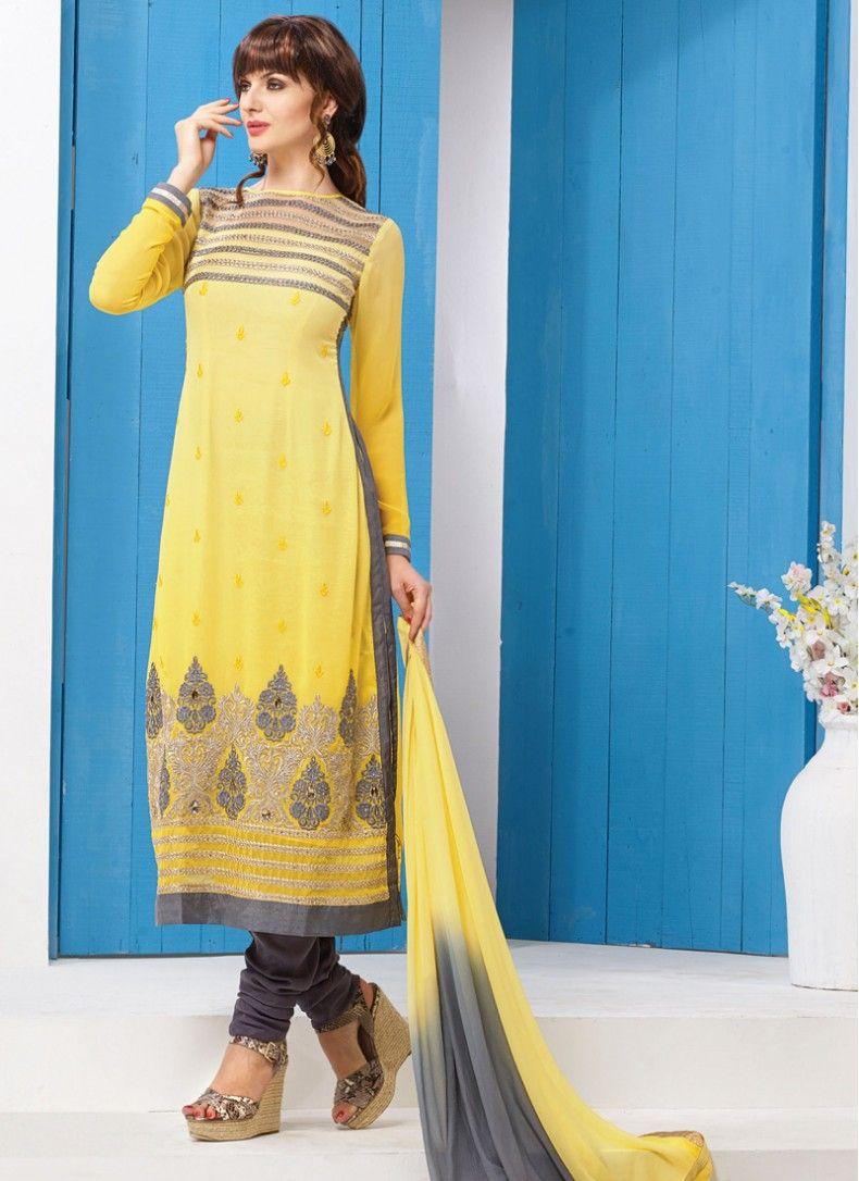 Party Wear Grey and Yellow Designer Churidar Suit | Salwar Kameez ...