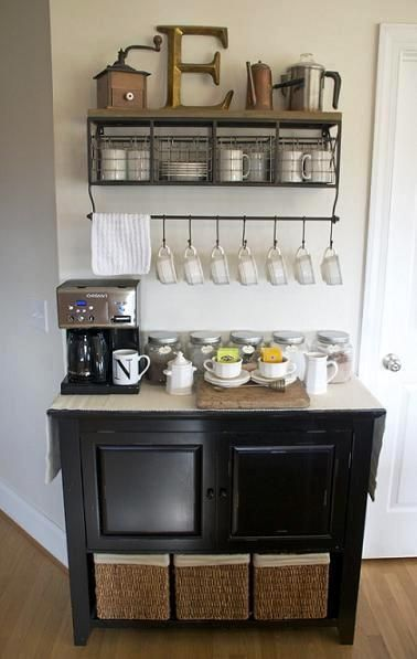 DIY Home Coffee Bar Inspiration But Could Be A Home Wine Bar Too!