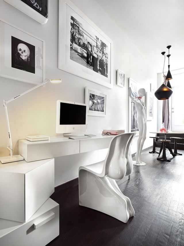 schwarz-weiß Kontraste-Schreibtisch kubismus modern Wohnideen ...