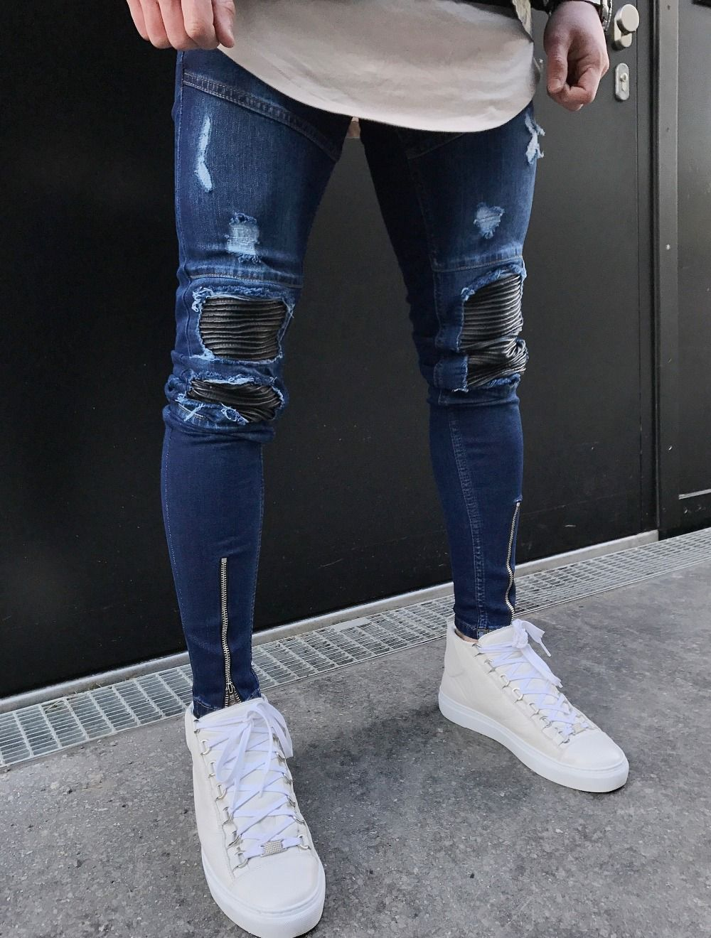 Blue Hem Zipper Stretch Knee Ripped Biker Jeans Men Hole Hip Hop Brand Clothing Skinny Jeans Pantalones De Hombre Moda Ropa Para Hombres Jovenes Jeans De Moda