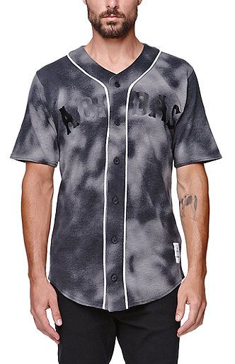 85f0cf186b469 Adidas supplies a tie dye men s baseball jersey found at PacSun. The 7 And  A Half Baseball Jersey for men comes with a black Adidas logo print on the  front