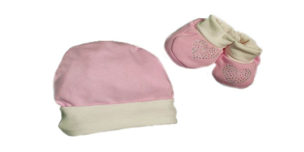 Completo in Cotone Cappello e Scarpe Rosa e Bianco Nancy Baby Taglia 0-1  Mese a8a01b3aec1d