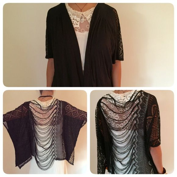 Boho Black Ethnic Fringe Shrug Shawl Style Sweater This black shrug sweater  features drape fringe crochet design and detail. Pair this with your skinnies or over a lace maxi dress. Made by I.ner size Medium. Fits loose! Cotton blend material. Only worn once! I.ner Sweaters Shrugs & Ponchos
