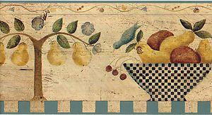... Vintage Fruit Bowl Kitchen Pear Wall paper Border Carol Endres | eBay
