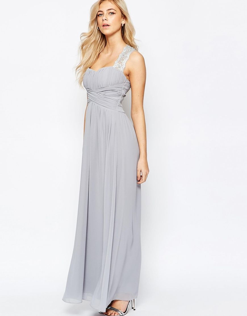 Image 1 of Little Mistress Ruched Bodice Maxi Dress With Lace Sleeves