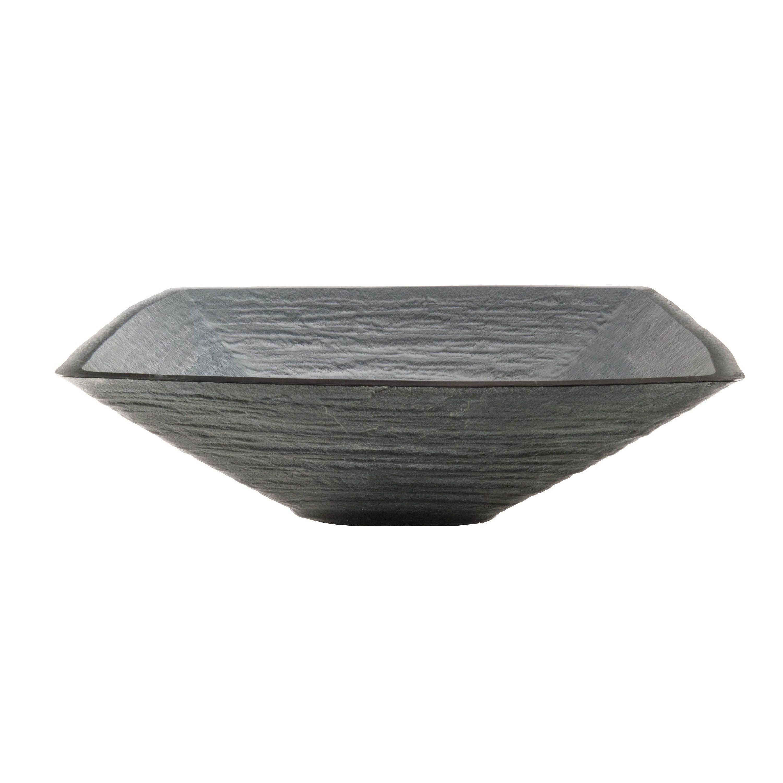 Novatto Croccante Glass Vessel Bathroom Sink (Charcoal Square Glass Vessel Sink, 18.25 In), Grey