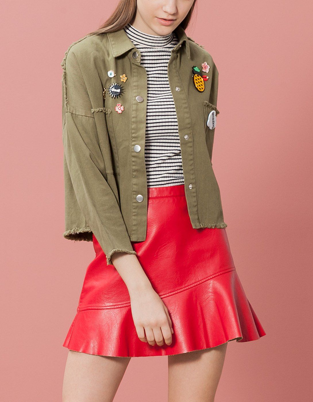 Jacket with frayed edging and patch trim