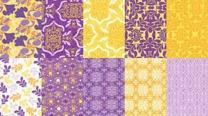 purple and yellow fabric quilt samples