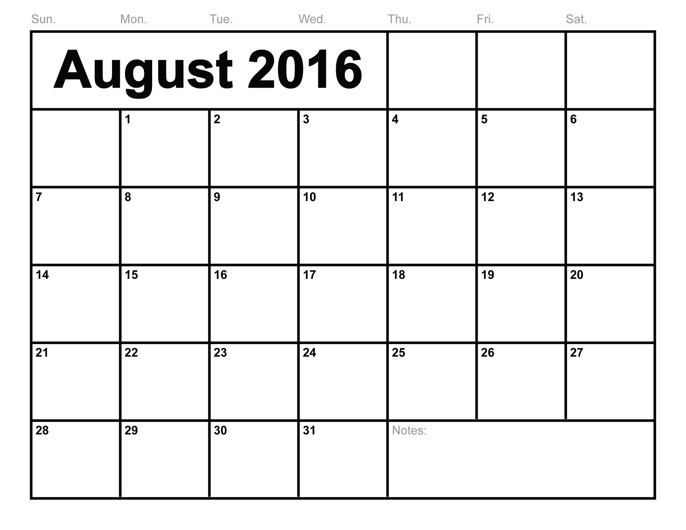 you can download august 2016 calendar template printable in various