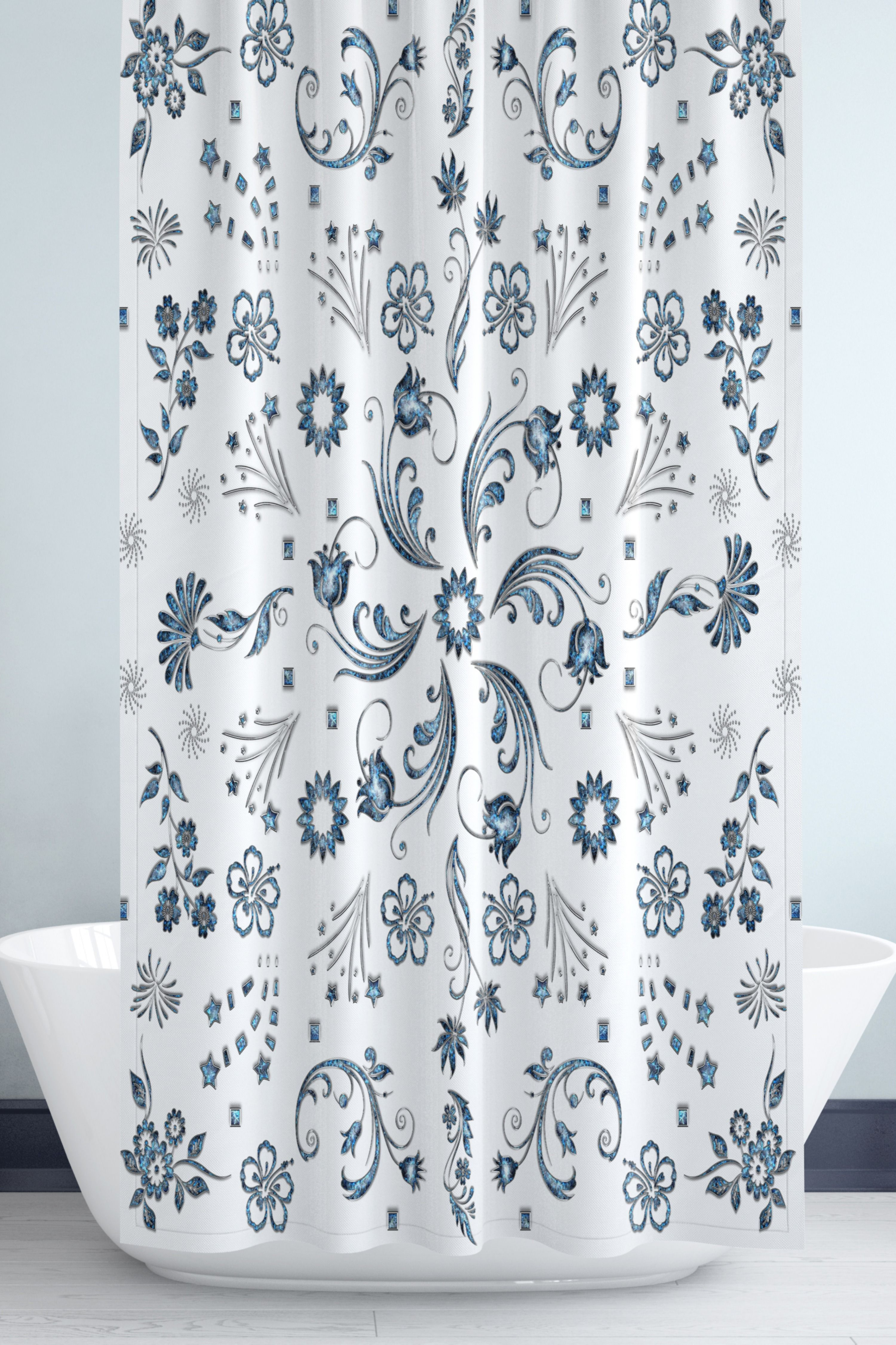 Navy Turquoise Gray And Sapphire Floral Pattern Shower Etsy