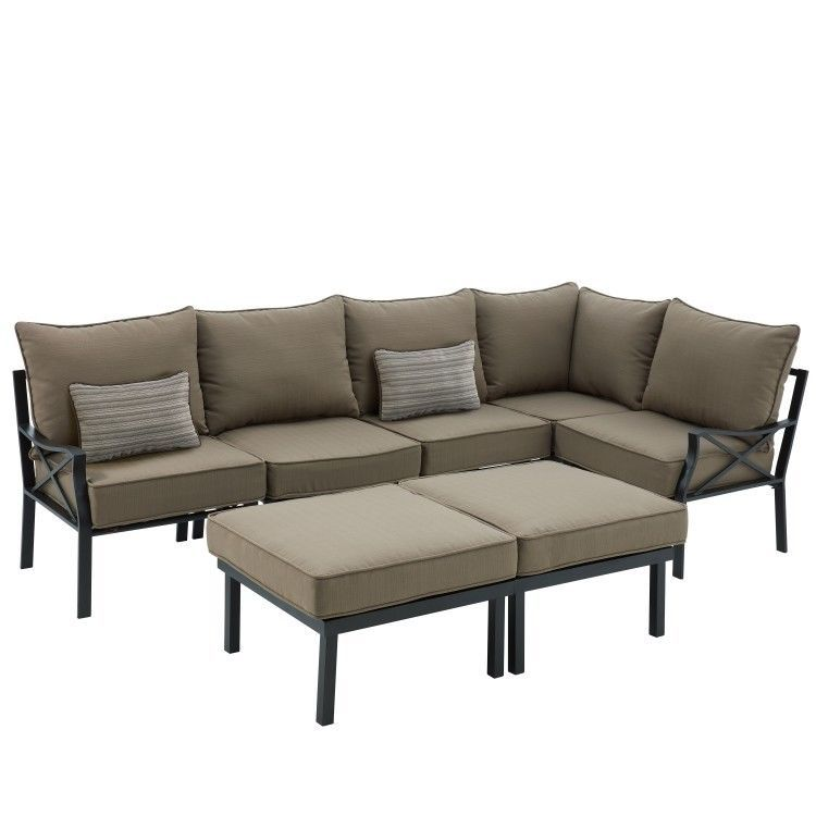 Best Outdoor Sectional Sofa Set 7 Piece Metal Tan Garden Patio 400 x 300