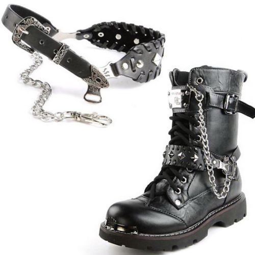 149ddd6ad39 Black Studded Leather Biker Punk Goth Boots Straps Chains ...