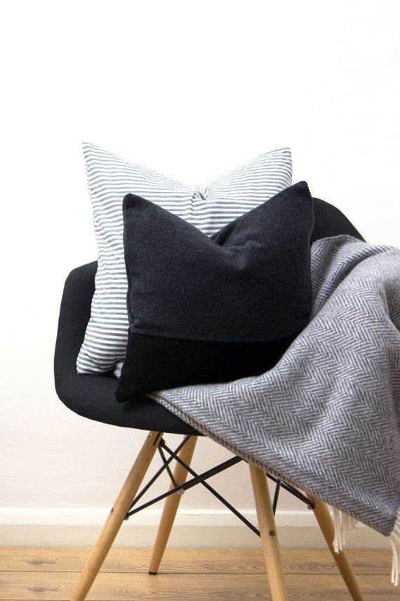 Wool Black Grey Cushion Cover Uk Gray Throw Pillow Geometric Colour Block Colorblock 40x40cm 16x Grey Cushion Covers Cushion Covers Uk Grey Throw Pillows