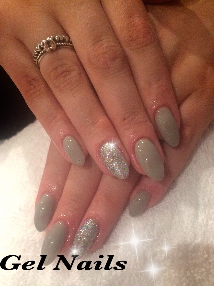 Almond gel extensions, custom mix grey gel polish & disco ball ...