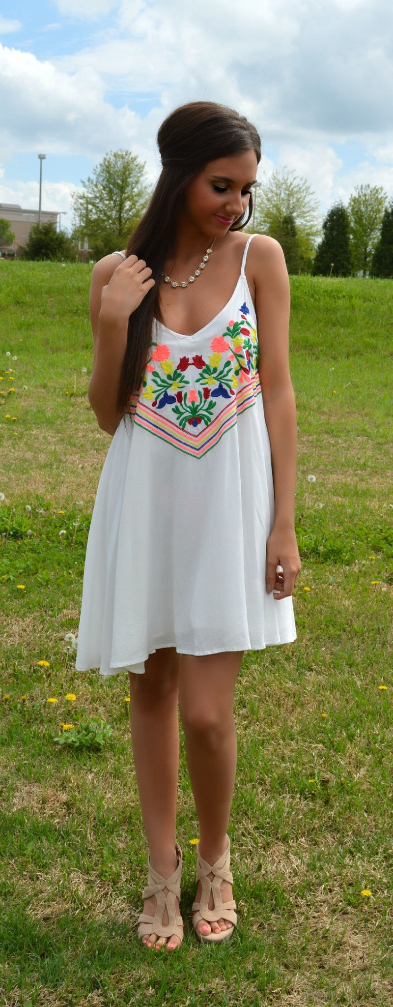 Lost In Love Floral Embroidered Dress | Haute Pink Boutique