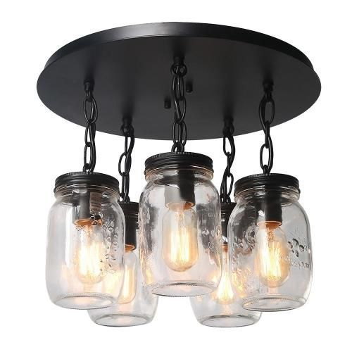 Mason Jar Is Common In Farmhouse D Cor We Set It As The Lampshade And Create A Modern Jar Ceiling Light Mason Jar Lighting Flush Mount Ceiling Light Fixtures