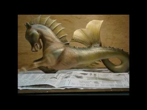 sea horse masthead wood carving - YouTube