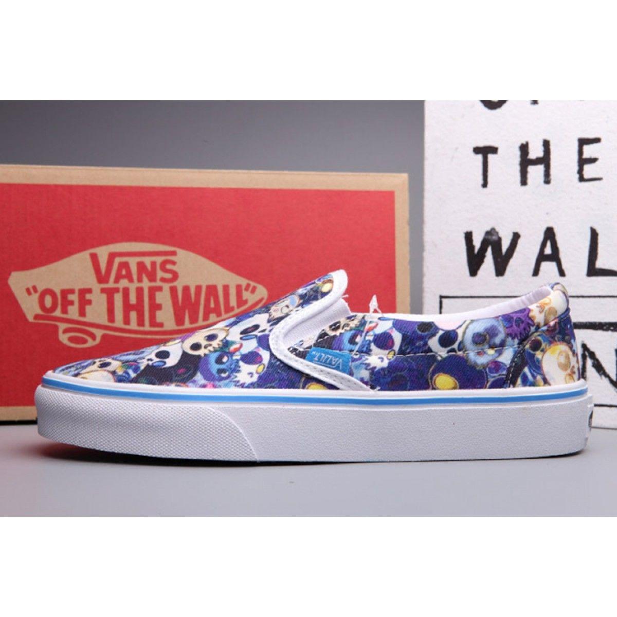 749e955297 Classic Blue Vans Slip-On LX Skull Print Skateboard Shoes  Vans ...