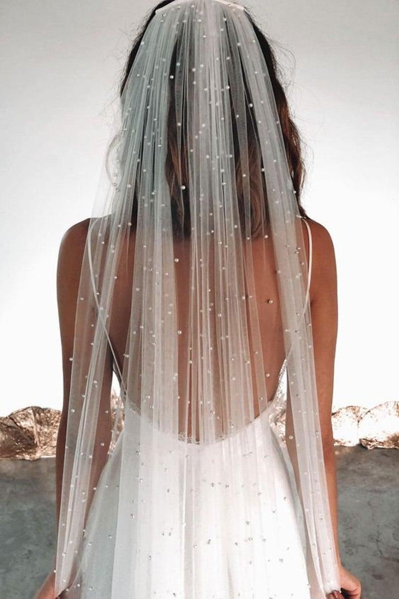wedding veil, floral veil, pearls veil, pearl edge veil, ivory veil, beads veil, short veil, bridal veil, beaded lace veil,