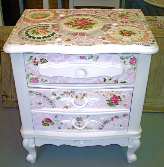Mosaic Shabby Nightstand  Side Table by CharlensAbstracts on Etsy