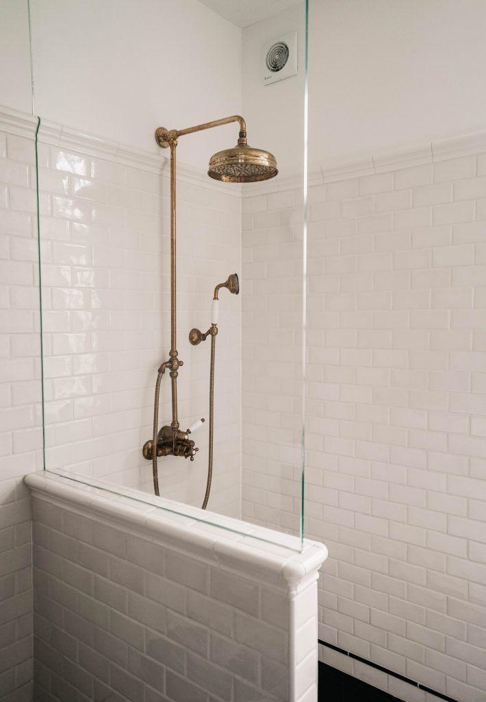 SONOMA SEVEN bathroom, mosaicfloor, art deco bathroom, shower, brass