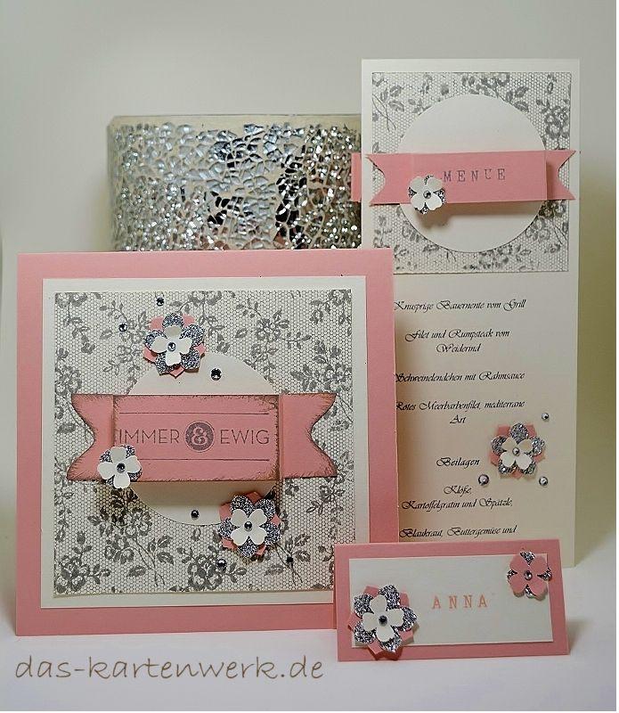 Schön Hochzeit; Hochzeitspapeterie; Menükarte; Einladungskarte; Tischkärtchen;  Namensschild; Rosa, Weiß;