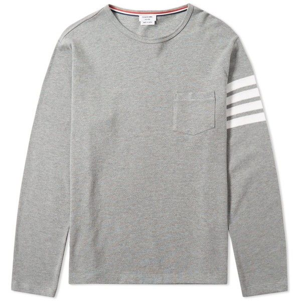Thom Browne Long Sleeve Arm Stripe Pocket Tee Long Sleeve Shirt