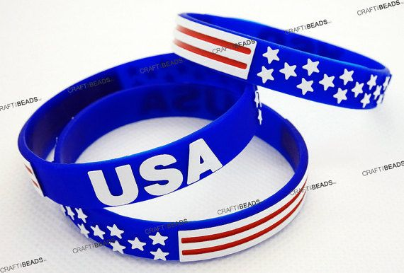 American Flag Silicone Rubber Wristband Cuff Bracelet Independence Memorial Veterans Day Holiday Gift