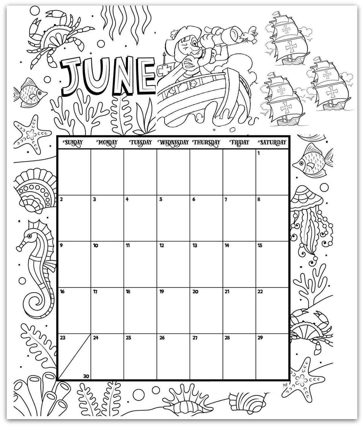 16 Printable Colouring Calendar In
