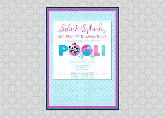 panda pool birthday invitation beach party first birthday