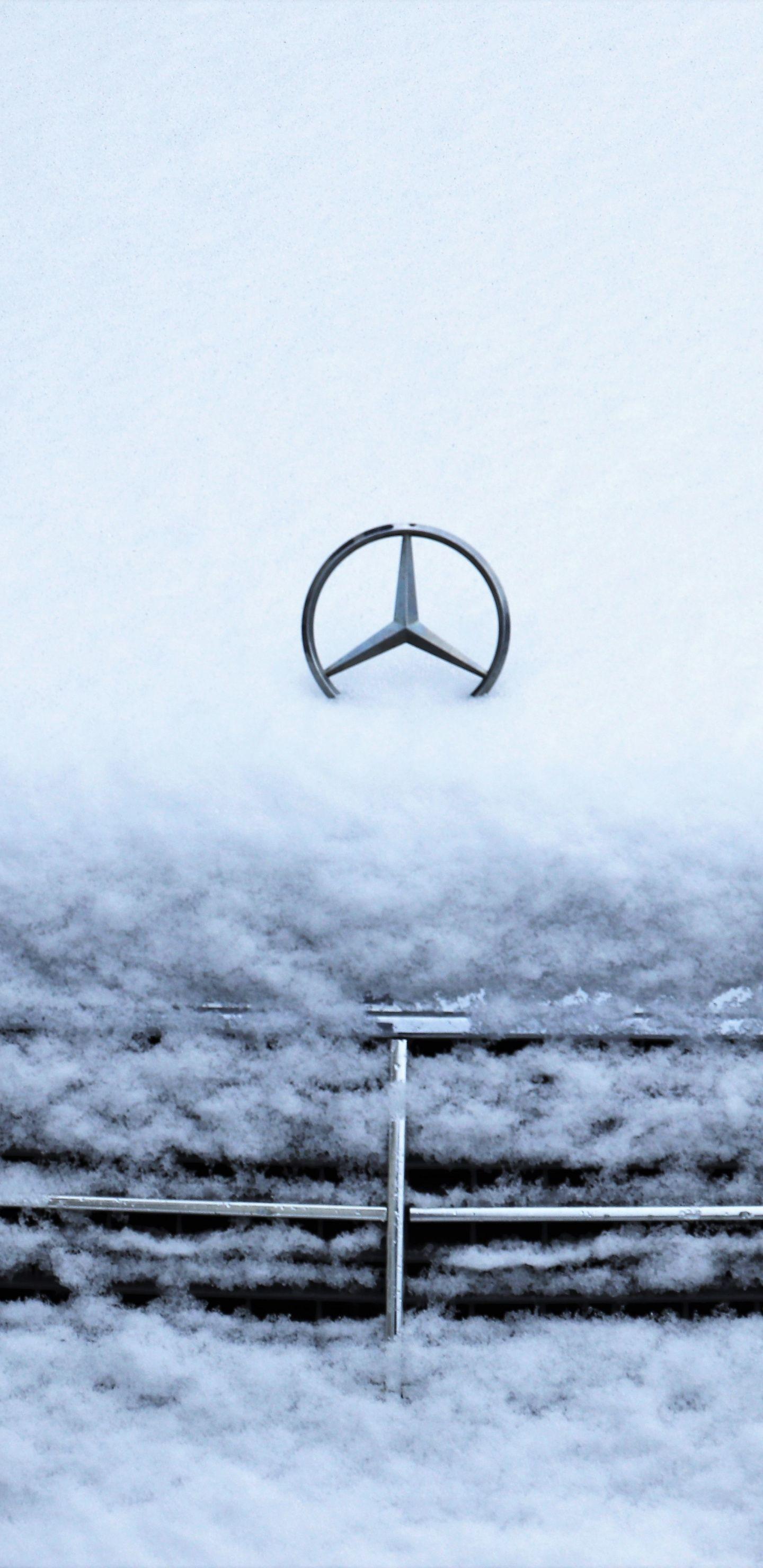 Winter Snow Layer Cars Mercedes Benz 1440x2960 Wallpaper