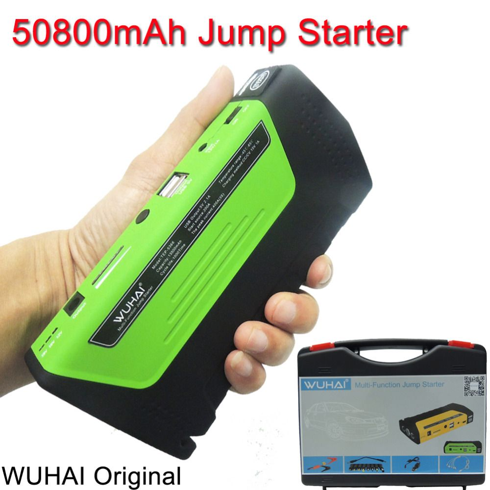 50800mah Wuhai Car Jump Starter Vehicle Auto Engine Booster Emergency Start Battery Portable Charger Power Bank For Car Battery Charger Packing Car Car Battery