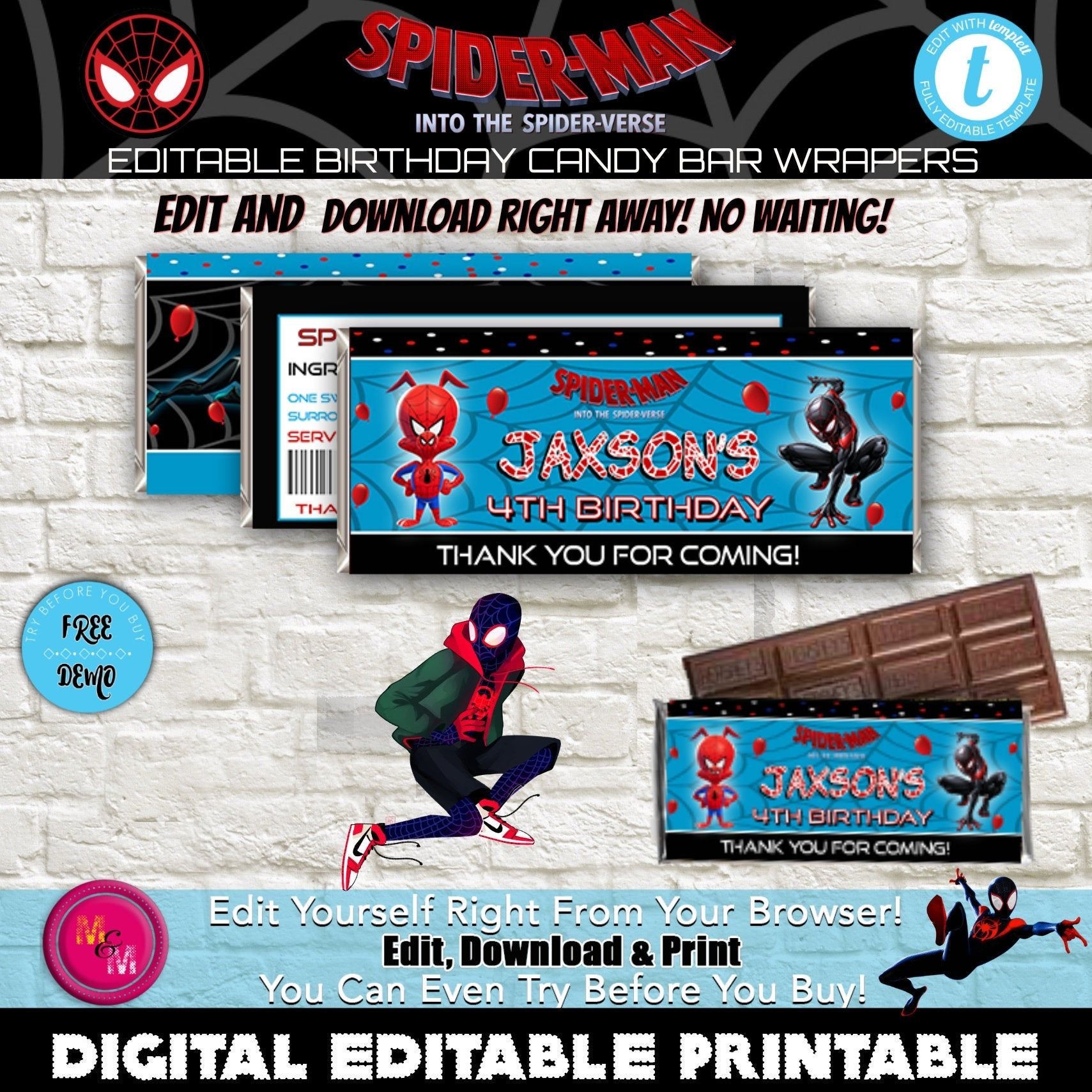 Editable Into The Spider Verse Candy Bar Wrappers