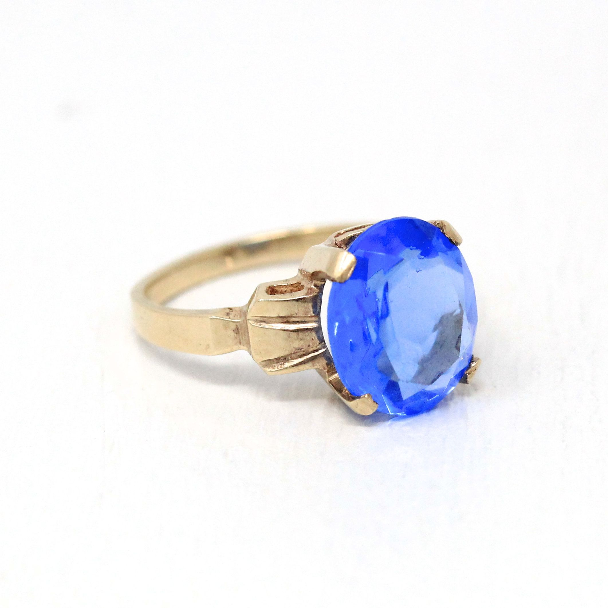 Blue Stone Ring Vintage 10k Yellow Gold 1940s Bright Cobalt Blue Size 6 1 2 Old Stock Oval Faceted Glass Fine Mid Century