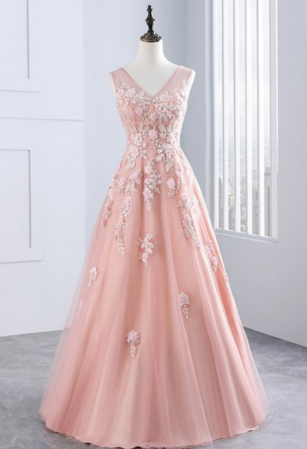 Evening Dresses ,Party Prom Dress Tulle Appliques Prom Dress,A Line Prom Dress,ball Gowm Prom Dress