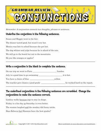 Grammar Review Conjunctions Speechpath Pinterest Grammar